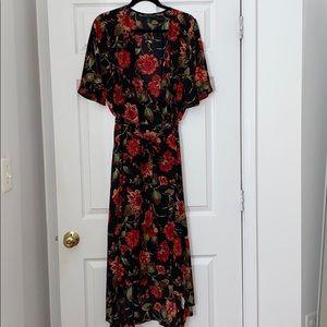 NWOT RED FLORAL WRAP DRESS